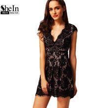 SheIn Women Sexy With Lace Dresses 2016 Ladies Party Plain Cap Sleeve V Neck Lace A Line Pleated Mini Dress