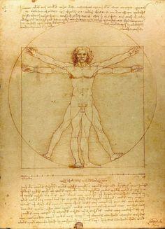 L'Uomo vitruviano, Leonardo da Vinci, 1490 circa, 34×24 cm, Gallerie dell'Accademia, Venezia