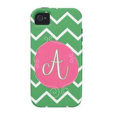 Green & White Chevron with Pink Monogram iPhone Case