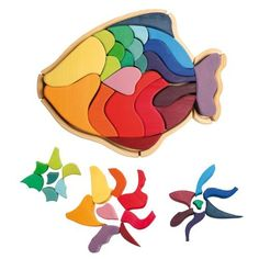 Grimm's Large Rainbow Fish Wooden Creative Puzzle, 22 Block Pieces with Storage Frame by Grimm's Spiel and Holz Design, http://www.amazon.com/dp/B002L5PI5Y/ref=cm_sw_r_pi_dp_TBKMrb0S3BDDD