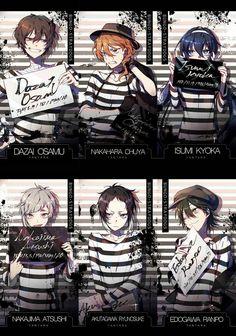 Dazai, Chuuya, Kyoka, Atsushi, Akutagawa, Ranpo