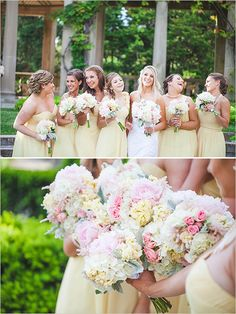yellow bridesmaids dresses and bouquets #yellow #bridesmaid #weddingchicks http://www.weddingchicks.com/2014/03/19/seaside-manor-wedding/