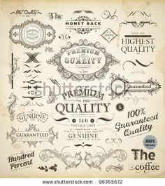 stock vector : Vector set of calligraphic design elements: page decoration, Premium Quality and Satisfaction Guarantee Label, antique and baroque frames | Old paper texture with dirty footprints of a cup of coffee.