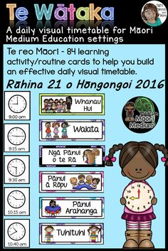 Te Wataka (the te reo Maori version of my Daily Visual Timetable) is a set of colourful and appropriately illustrated, learning activity/routine and time cards to assist you in constructing a visual timetable/schedule for daily or weekly use inside a Maori medium education setting. Te reo Maori is the only language used in this set, so it is suitable for a total immersion or bilingual classroom.