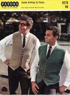 mens knitting pattern pdf mens waistcoats larger sizes DK suit waistcoat v front pockets vintage 44-50inch DK light worsted 8ply download by coutureknitcrochet on Etsy Knit Vest Pattern, Sweater Knitting Patterns, Knitting Designs, Men's Waistcoat, Vintage Knitting, Knitted Hats, Cool Outfits, Men Sweater, Suits
