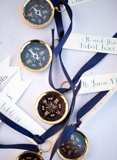 Compass escort card alternatives for nautical wedding   18 Nautical Details for a Wedding that's Set to Sail via @IBTblog