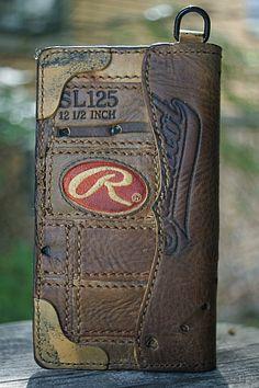 Custom Biker Style Wallet Built From Old Baseball Gloves-Vvego  #vvegoorginal #baseball #baseballleatherwallets #baseballmoms #coolwallets #chainwallets #edc #customleather #giftsforguys #madeinamerica  Find Us On Instagram @vvegogear