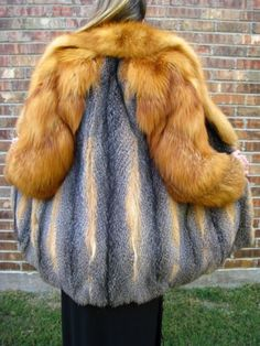 Red and gray fox fur coat