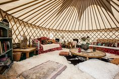 Bell Tent Glamping, Camping Glamping, House Near River, Yurt Interior, Earth At Night, Yurt Home, Yurt Living, Kicker, Home Design Floor Plans