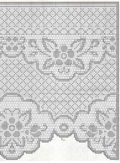 tenda-fiori-e-foglie. Crochet Curtain Pattern, Crochet Patterns Filet, Crochet Curtains, Crochet Borders, Crochet Tablecloth, Crochet Diagram, Crochet Doilies, Crochet Stitches, Crochet Motif
