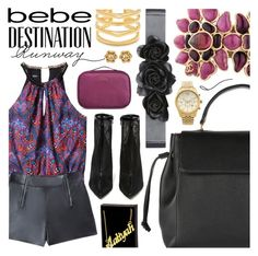 """Destination Runway with Bebe : Contest Entry"" by pastelneon ❤ liked on Polyvore featuring Bebe, Lanvin, Chanel, Jeffrey Campbell, Michael Kors, Stella & Dot, Tumi and beiconic"