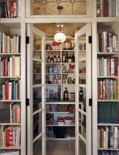 Lots of cookbook storage outside this kitchen pantry. I need more cookbook storage. Cookbook Storage, Cookbook Shelf, Pantry Storage, Food Storage, Cookbook Display, Kitchen Storage, Secret Storage, Storage Room, Küchen Design