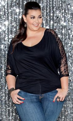 A little sweet, a little sexy and a whole lot of style! This plus size jersey knit top with lace detail is a comfortable and chic top for a glam look- I want it in red