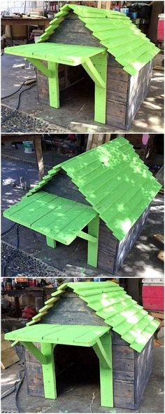 Simply gather a large number of useless wooden pallet stacks, cut them properly, make sure to clean them as well and dramatically arranged them up together to complete this exceptional wood pallet dog house plan. This rustic furniture item with a green paint on roof and door area appears appealing for the first sight.