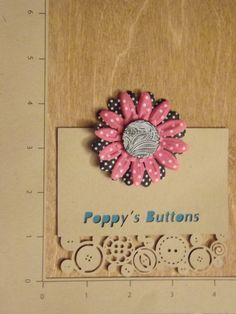 Hand Painted Black and Pink Button Flower Barrette/Pin by PoppysButtons on Etsy