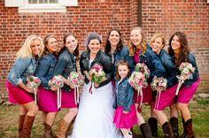 hot pink fuchsia J.Crew bridesmaid dresses, denim jackets and cowboy boots, bridesmaids in denim jackets, bride in denim jacket, bridesmaids in pink and denim, hot pink country cowboy DIY wedding, rustic wedding ideas, Chapel Hill wedding, Katelyn James Photography