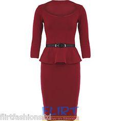 Peplum Belted Bodycon Pencil Dress