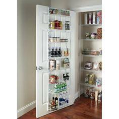 ClosetMaid 8 Tier Adjustable Cabinet Door Organizer Size: W Pantry Door Storage, Pantry Door Organizer, Pantry Shelving, Pantry Closet, Kitchen Organization Pantry, Storage Shelves, Kitchen Shelf Organizer, Behind Door Storage, Pantry Diy