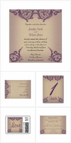Cream and Purple Vintage Scroll Posh Wedding