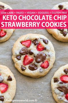 Keto Strawberry Chocolate Chip Cookies recipe made EGGLESS! Soft, chewy and loaded with fresh strawberries and chocolate chips! #ketocookies #keto #cookies #strawberries #lowcarb #vegancookies