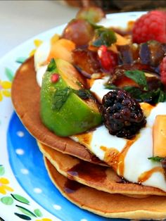 Yogurt Date Honey Pancakes with Sheva Minim Fruit Salad