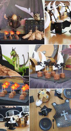 Thomas Birthday Parties, Dragon Birthday Parties, Dragon Party, Birthday Party Themes, Viking Party, Medieval Party, Toothless Party, Viking Birthday, Dragon Table