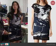 Joan's navy graphic dress on Elementary.  Outfit Details: http://wornontv.net/40681/ #Elementary