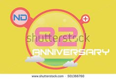 anniversary logo with red circle, green liquid and clouds. anniversary logo for birthday, wedding, celebration and party 82nd