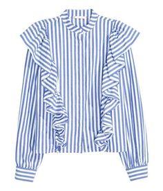 London Fashion Week Street Style: Shop The Look Autumn/Winter 2016 British Vogue Blouse Volantée, Frill Blouse, Shirt Blouses, Collar Blouse, Cotton Blouses, Frilly Shirt, Ruffle Shirt, Ruffle Top, Ruffle Sleeve