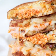 Try Buffalo Chicken Grilled Cheese Sandwich! You'll just need 1 cooked chicken breast, shredded (I used a breast from a grocery store rotisserie chicken), 1...