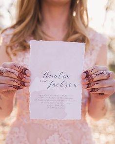 Watercolor, bohemian wedding invitation | amavistudio.com   boho, deckled edges, cotton paper,  watercolor, calligraphy, custom designed, henna, blush, simple, minimalistic, natural, organic