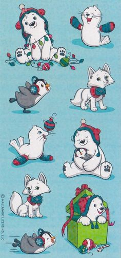 Hallmark Christmas arctic animal stickers