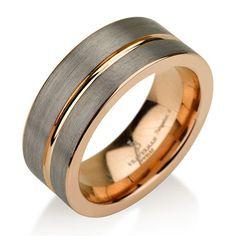 Black Gunmetal Tungsten Ring Rose Gold Wedding Band 9mm Man