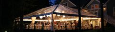 40' x 60' Clear Frame Tent Rental with Lanterns, string lighting and leg drapes on custom flooring