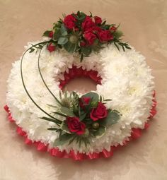 Funeral traditional wreath white chrysanthemum based choice of colours and sizes available Grave Flowers, Cemetery Flowers, Funeral Flowers, Funeral Floral Arrangements, Christmas Flower Arrangements, Deco Floral, Arte Floral, Silk Flower Wreaths, Funeral Sprays
