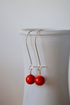 Red Bead Earrings, Simple Red Earrings, Boho Earrings, Bohemian Earrings, Single Bead Earrings, Silver Earrings, Casual Earrings