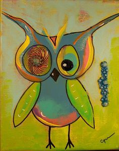 Original acrylic hoot owl painting on canvas by Queenoftorts