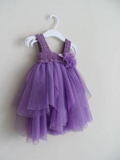Lilac Purple Baby Tulle Dress with Empire Waist and by AylinkaShop