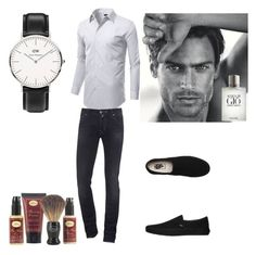 """""""Untitled #33"""" by miskimuslim ❤ liked on Polyvore featuring Jacob Cohёn, Vans, Daniel Wellington, Giorgio Armani, The Art of Shaving, men's fashion and menswear"""