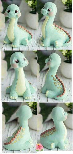 Latest No Cost Polymer clay crafts fairy Thoughts Dinosaur Cake Toppers, Dino Cake, Dinosaur Birthday Cakes, Fondant Cake Toppers, Fondant Figures, Fondant Cupcakes, Cupcake Toppers, Cute Polymer Clay, Polymer Clay Crafts