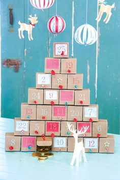 holiday, cardboard boxes, christmas decorations, advent calendars, weihnachten, advent tree, advent idea, christmas trees, kid