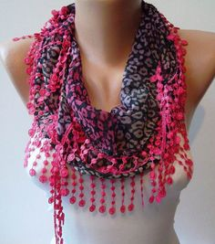 Leopard Print  Pink Scarf with Pink Trim Edge by SwedishShop, $12.90