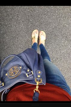 Red sweater, jeans, Tory Burch navy blue bag, Jack Rogers gold sandals
