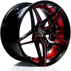 20 Inch Rims (Black and Red) - FULL Set of 4 Wheels - Mad...