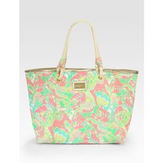 Lilly Pulitzer Shoreline Tote/Pink Multi ($78) ❤ liked on Polyvore