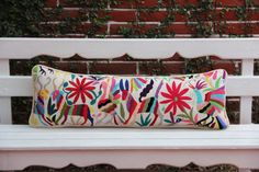 Multi colored oversized lumbar  Otomi Sham backed and piped with handwoven artisan rustic eco textiles