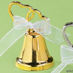 150 GOLD WEDDING DOUBLE HEART BELL PLACE CARD HOLDERS/Reception Party Favors