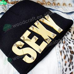 Mirror acrylic letter rivet  wholesale beanies hat hiphop sexy custom knitted beanie hats