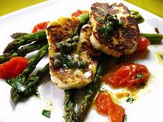 Sizzling Haloumi with Roasted Asparagus and Tomatoes