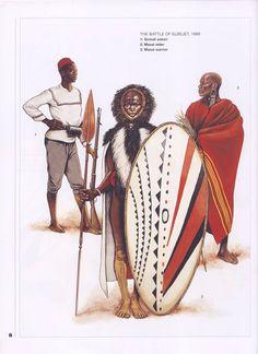 The Battle of Elbejet,1889. 1:Somali askari.2:Masai elder.3:Masai warrior.